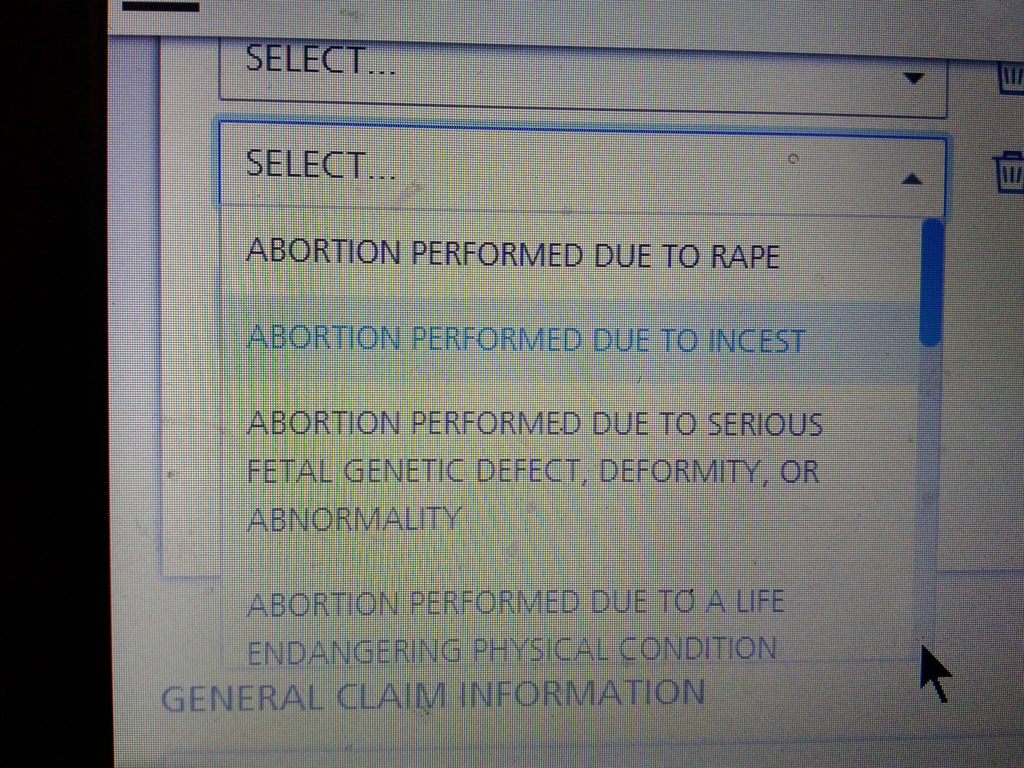 Caption: HCFA-1500 in section 10D record why an abortion was performed