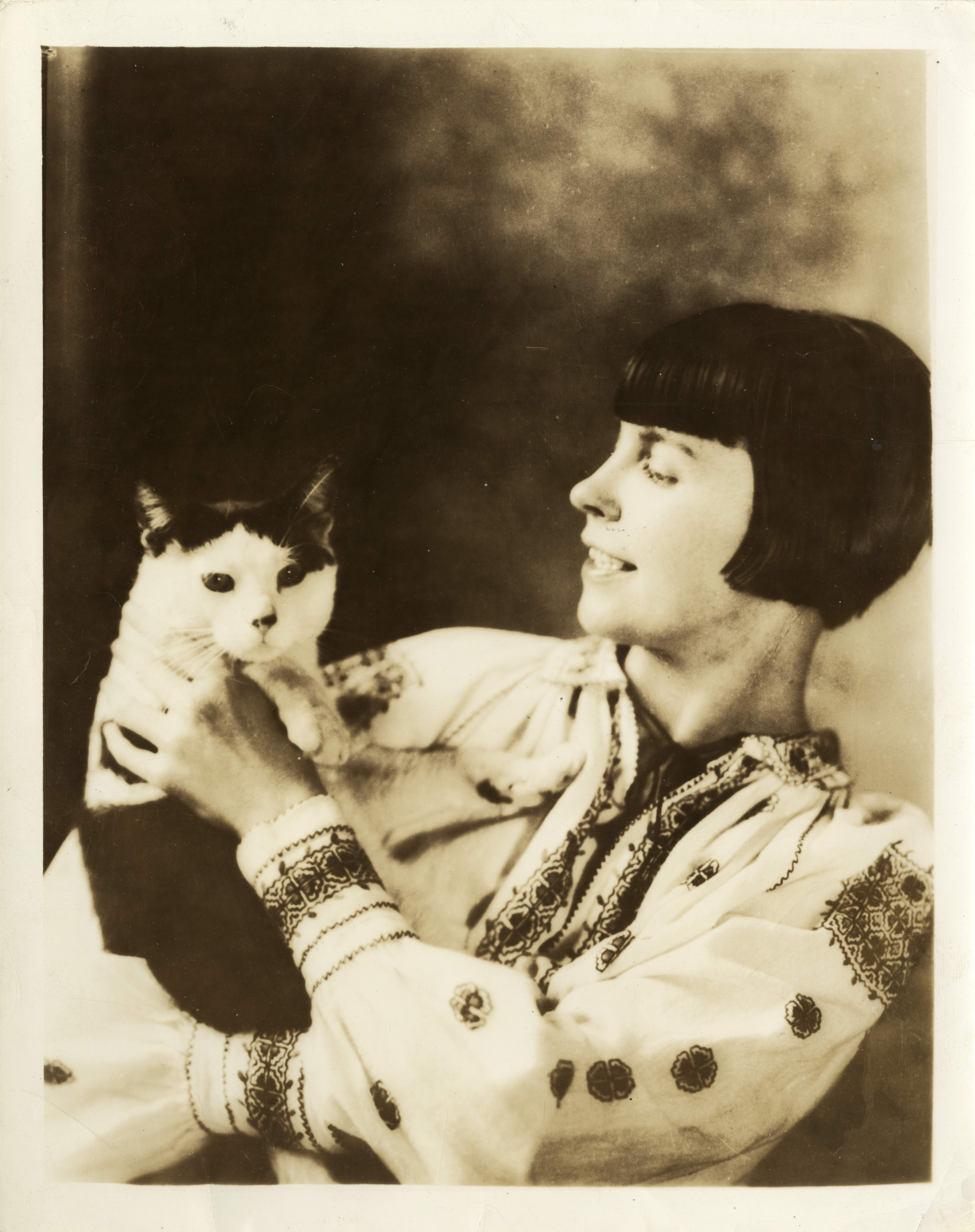 Caption: Wanda Gag and her cat, Snoopy., Credit: Children's Literature Research Collections, University of Minnesota Libraries