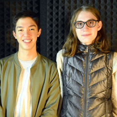 Caption: OutCasting youth participant Amalee (R), with Alex