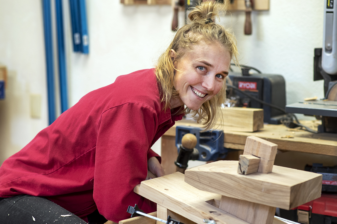 Caption: Jess Hirsch of Women's Woodshop., Credit: Angela Lundberg