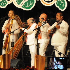 Caption: From Mexico Tlen Huicani on the WoodSongs Stage.