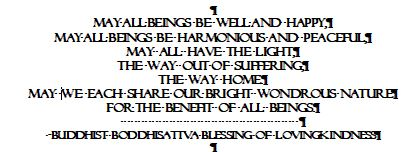 "Caption: ""May all beings be well and happy, May all beings be harmonious and peaceful, May all have the light, The way out of suffering, The way home..., Credit:  Bodhisaatva Vow"