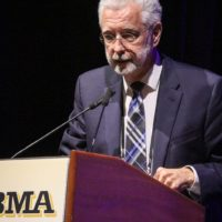 Caption: Steve Marti, host receiving the 2018 IBMA Broadcaster of the Year Award