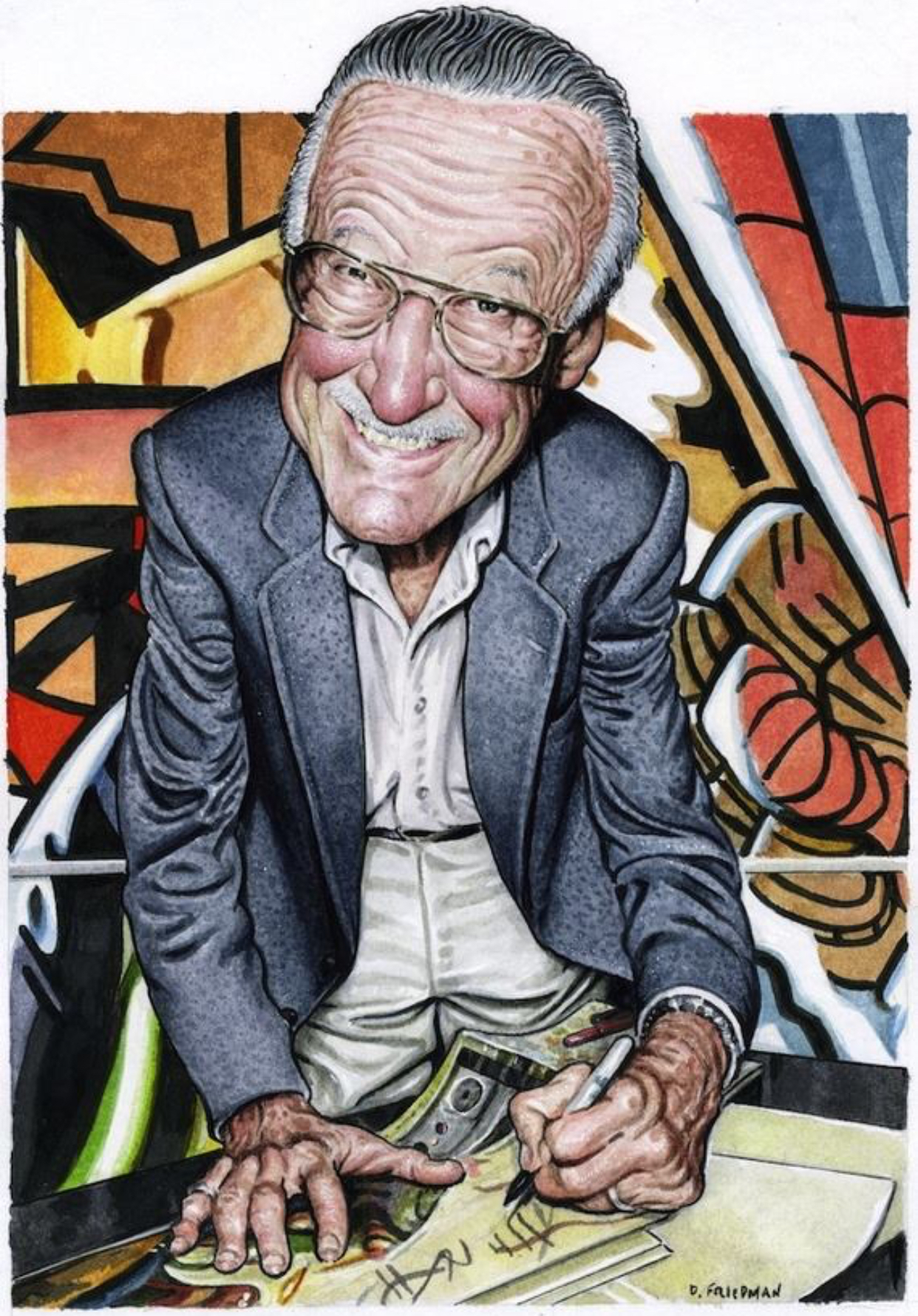 Caption: Stan Lee, Credit: Drew Friedman