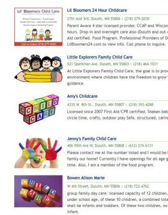 Caption: A search for childcare in the Duluth area brings up pages of options for parents