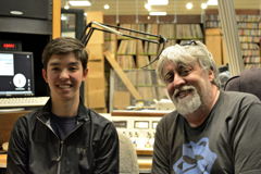 Caption: OutCasting youth participant Alex with Gilbert Baker at OutCasting's studio