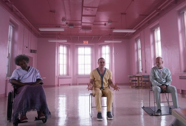 Caption: Samuel L. Jackson, James McAvoy, Bruce Willis in M. Night Shyamalan's 'Glass'