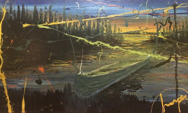 "Caption: Painting from ""Salvaged Medium"" by Jamie Harper, Credit: Jamie Harper"