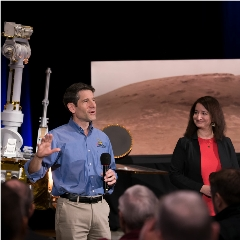 Caption: With a model of NASA's Opportunity rover behind him, John Callas, project manager of the Spirit and Opportunity Mars rovers, speaks about the rovers' achievements at the agency's Jet Propulsion Laboratory in Pasadena, California. Deputy Project Scientist , Credit: NASA/JPL-CaltechMars Exploration Rover - Opportunity