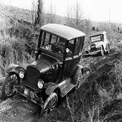 Caption: 1927 Auto in mud