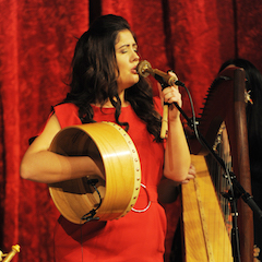 Caption: Ciara McCafferty from the Irish band Connla on the WoodSongs Stage.