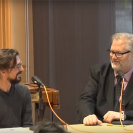 Caption: Percussionist Dan Piccolo and host Brad Cresswell, Credit: YouTube/bgsumusic