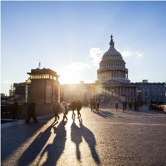 Caption: The sun sets behind the U.S. Capitol Building as Planetary Society members wrap up their work advocating for space. The 2019 Day of Action saw 100 members from 25 states visit offices throughout Congress in support of space science and exploration., Credit: Antonio Peronace for The Planetary Society