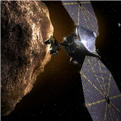 Caption: Artist concept of the Lucy spacecraft during one of its Trojan asteroid flybys., Credit: NASA