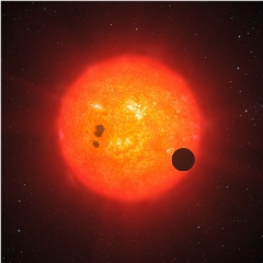 Caption: Artist's impression of a recently discovered super-Earth that orbits the nearby star GJ 1214. Discovered with the European Southern Observatory's 3.6-meter telescope at La Silla, GJ 1214b is the second super- Earth exoplanet for which astronomers have det, Credit: ESO / L. Calcada
