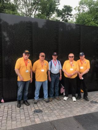 Caption: Honor Flight vets 2019 - Jim Corcoran, Dave Wirt, Orvis Lunke, Butch Deschampe, Arvid Dahl, Credit: Orvis Lunke