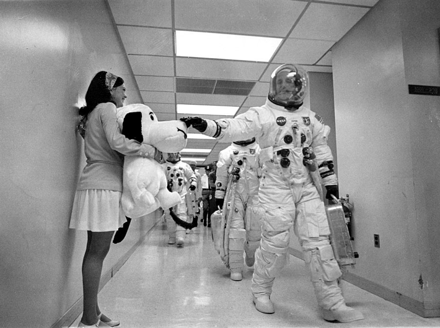 Caption: Astronaut Tom Stafford touches Snoopy for good luck., Credit: NASA