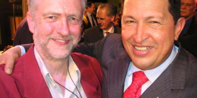 Caption: Jeremy Corbyn and Hugo Chávez
