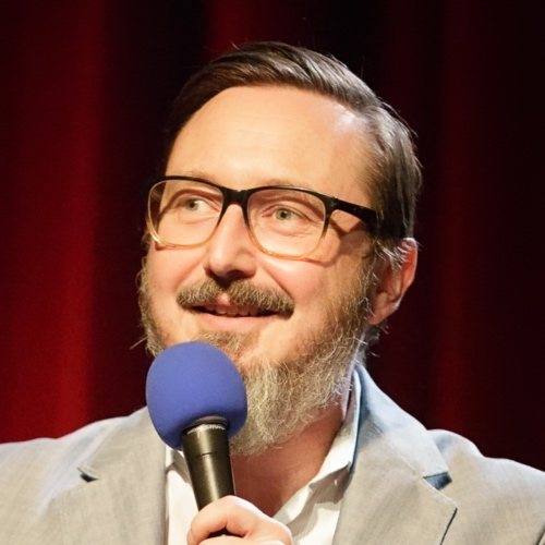 Caption: John Hodgman on Live Wire, Credit: Jennie Baker