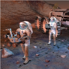 Caption: Artist's concept of humans exploring Mars, Credit: NASA/JPL-CALTECH
