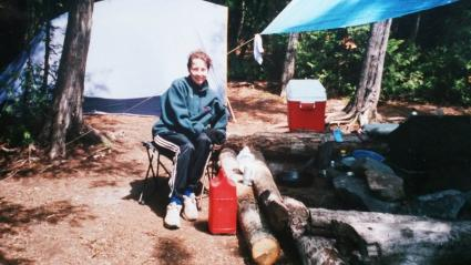 Caption: Cindy Carpenter Straub at her campsite on Pine Lake before the Blowdown storm. Submitted photo to WTIP