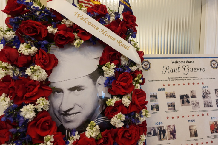 Caption: 52 years after he died in a Vietnam plane crash, Raul Guerra's memorial service was held at Risher Mortuary in Montebello, Cal., Credit: Libby Denkmann/American Homefront