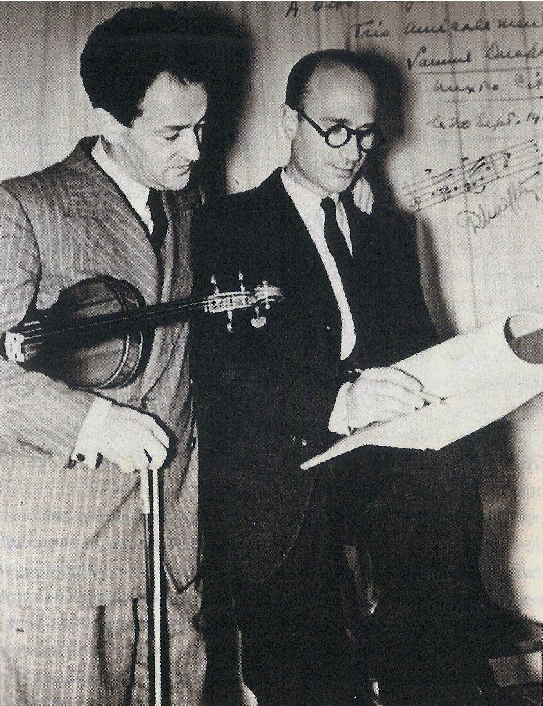 Caption: Rodolfo Halffter with violinist Samuel Dushkin