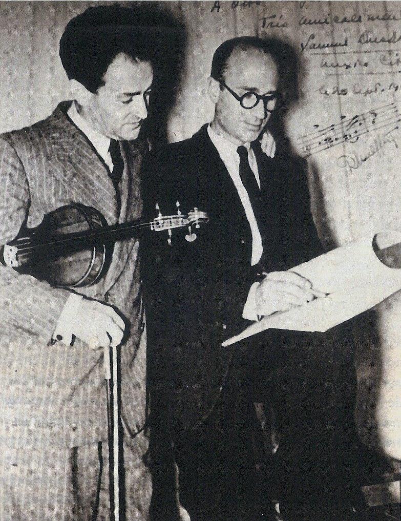 Caption: Rodolfo Halffter with violinist Samuel Dushkin