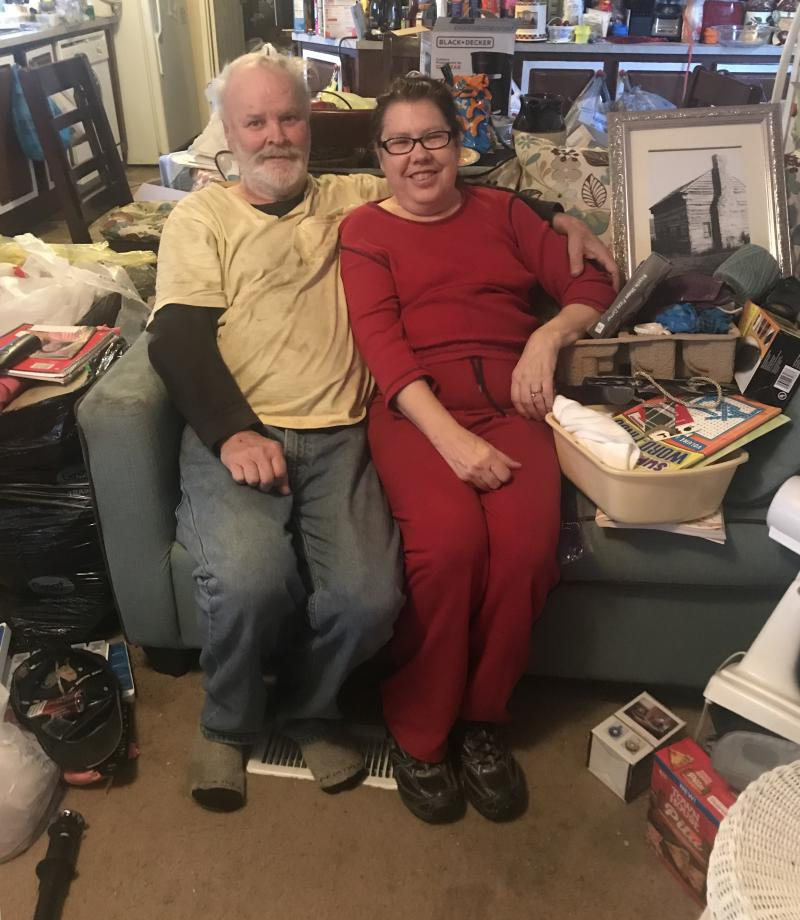 Caption: Dennis Pond and his wife Gay pose in their home in Casey County, Kentucky., Credit: Lisa Gillespie/Side Effects Public Media