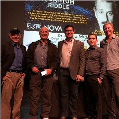 Caption: Mat Kaplan (far left) at UC San Diego with guests David Brin, Brian Keating, Andrew Friedman and Jason Gallicchio, Credit: Mat Kaplan