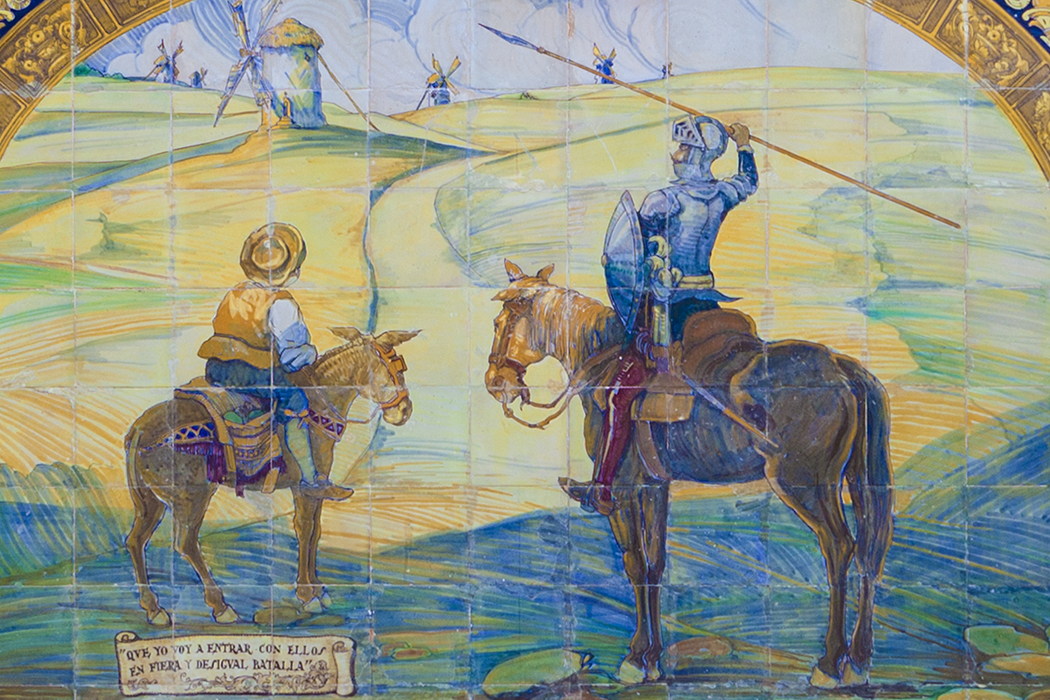 Caption: Don Quixote and Sancho Panza depicted on tiles in Seville, Spain