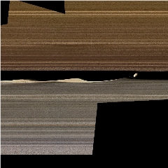Caption: A false-color image mosaic shows Daphnis, one of Saturn's ring-embedded moons, and the waves it kicks up in the Keeler gap. Images collected by Cassini's close orbits in 2017 are offering new insight into the complex workings of the rings., Credit: NASA/JPL-Caltech/Space Science Institute