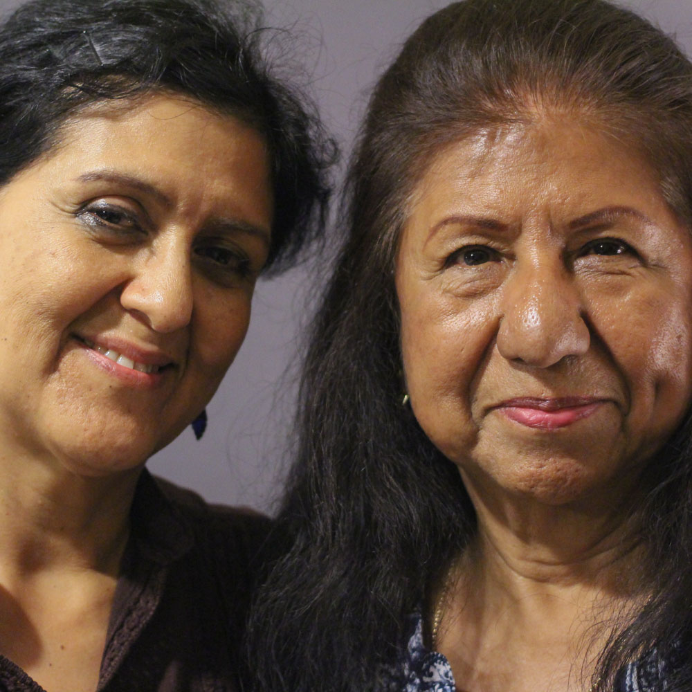 Caption: Alma Schlor and Maria Ochoa at their StoryCorps interview in Tucson, Arizona on April 20, 2016. By Camila Kerwin for StoryCorps.