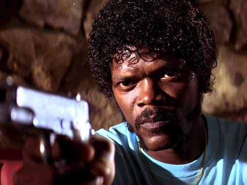 Caption: Samuel L. Jackson in Quentin Tarantino's classic film, 'Pulp Fiction'