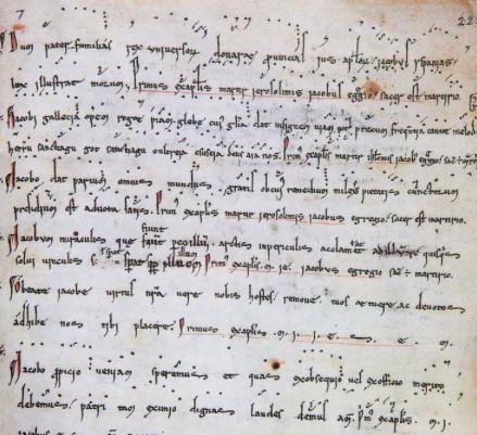"""Caption: Hymnus peregrinorum """"Dum pater familias"""" fragment from Codex Calixtinus"""