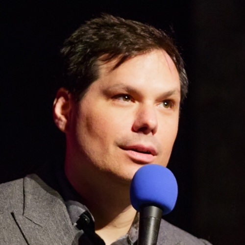 Caption: Michael Ian Black on Live Wire, Credit: Jennie Baker