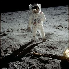 Caption: Buzz Aldrin is protected by his fabric moonsuit in this classic photo by Neil Armstrong., Credit: NASA
