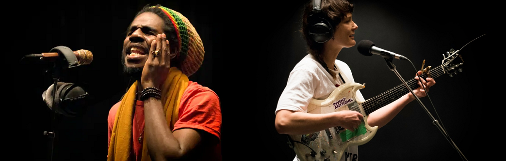 Caption: Chronixx and Land of Talk's Elizabeth Powell performing in the q studio in Toronto, Credit: CBC