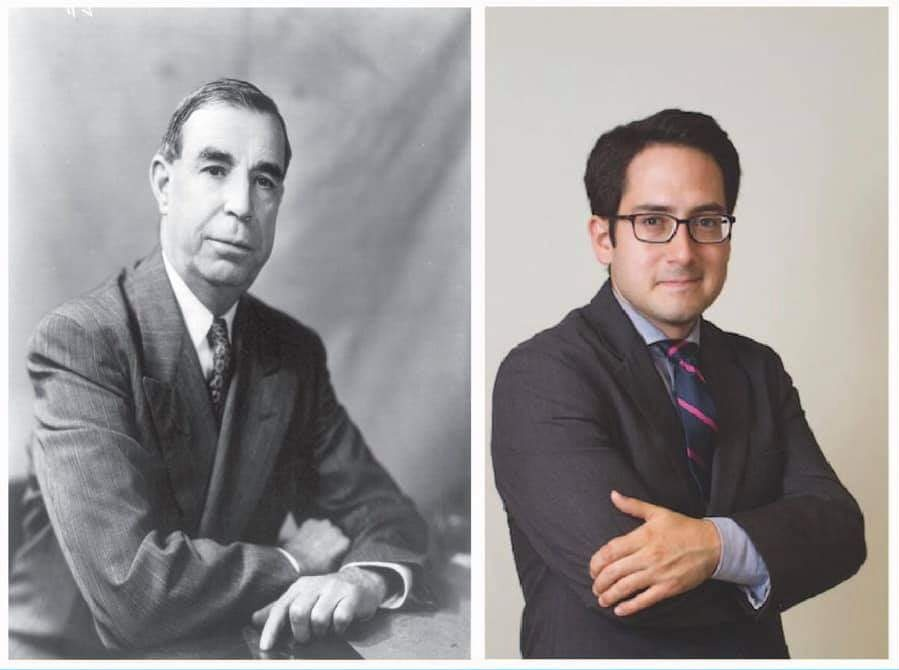 Caption: Right: U.S. Sen. Dennis Chavez (NM); Right: Professor Alvaro Bedoya