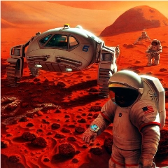 Caption: Artist concept of humans exploring Mars, Credit: NASA/Pat Rawlings, SAIC