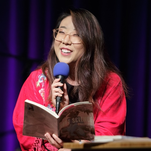 Caption: Franny Choi on Live Wire, Credit: Jennie Baker