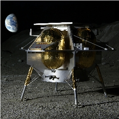 Caption: Artist concept of the Astrobotic Peregrine lander on the lunar surface., Credit: Astrobotic