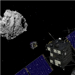 Caption: Comet 67P/Churyumov-Gerasimenko, pictured with the European Space Agency's Rosetta orbiter and Philae lander, Credit: ESA