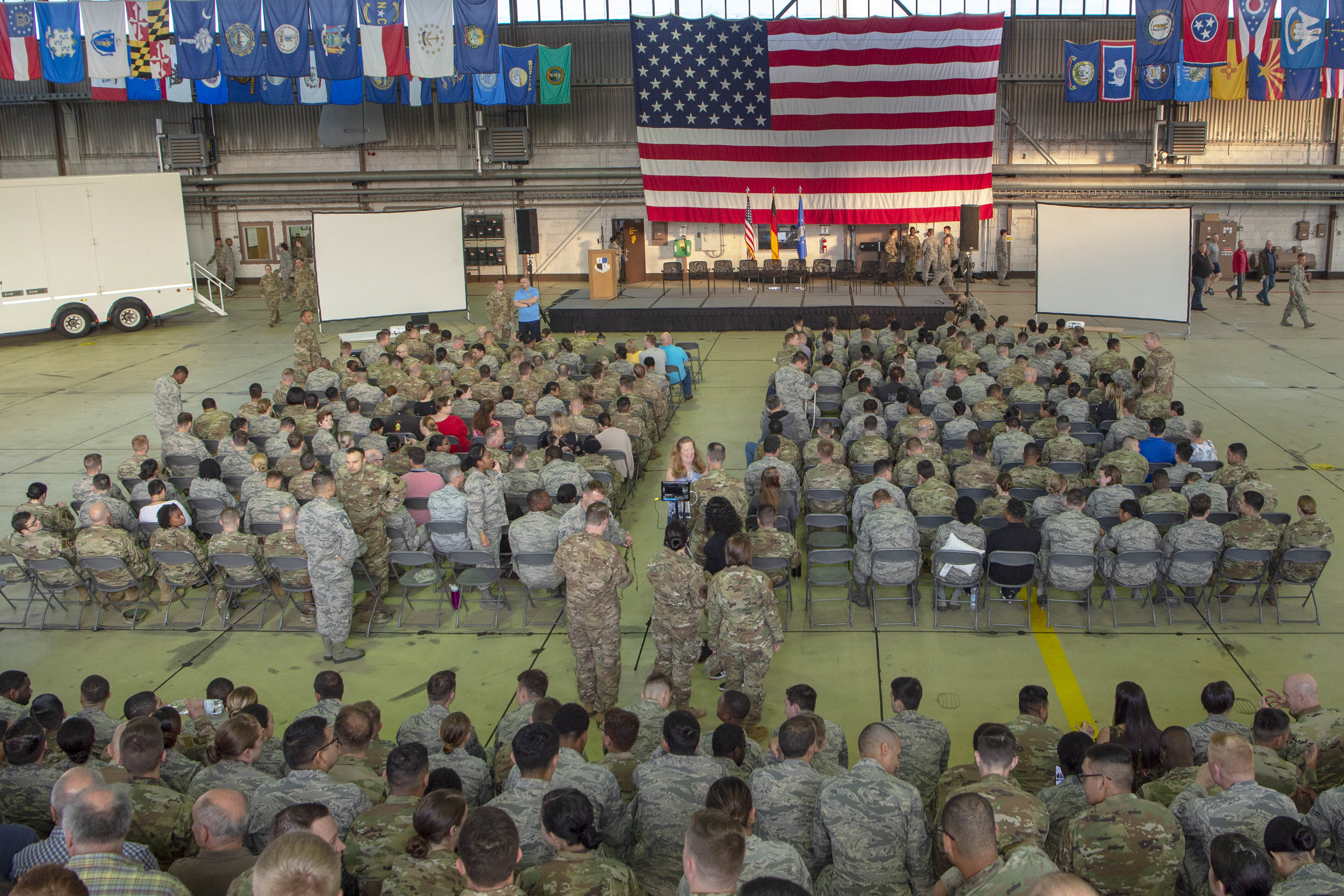 Caption: Members of the 52nd Fighter Wing gather at Spangdahlem Air Base, Germany for a one-day stand down to discuss mental health issues., Credit:  Kyle Cope / U.S. Air Force