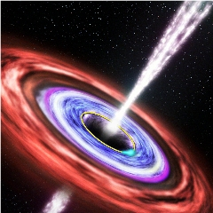 Caption: Artist concept of a black hole emitting gamma-ray bursts., Credit: NASA