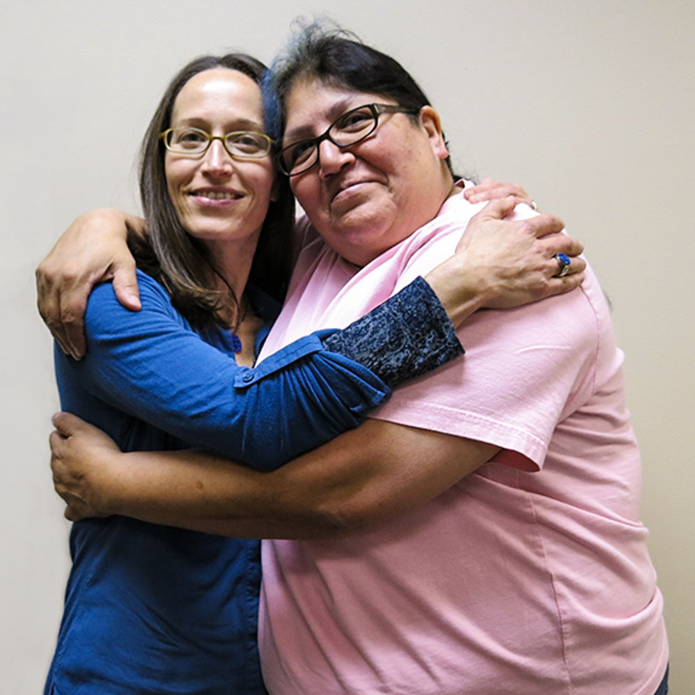 Caption: Caroline Dezan and Maria Rivas at their StoryCorps interview in Fresno, California on April 4, 2014., Credit: Courtesy Caroline Dezan.
