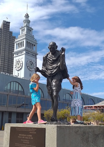 Caption: Gandhi statue at the Ferry Building, San Francisco, Credit: Sandip Roy