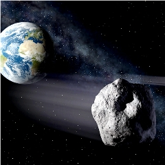 Caption: A large asteroid narrowly misses Earth., Credit: NASA