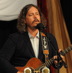 Caption: John Paul White on the WoodSongs Stage.