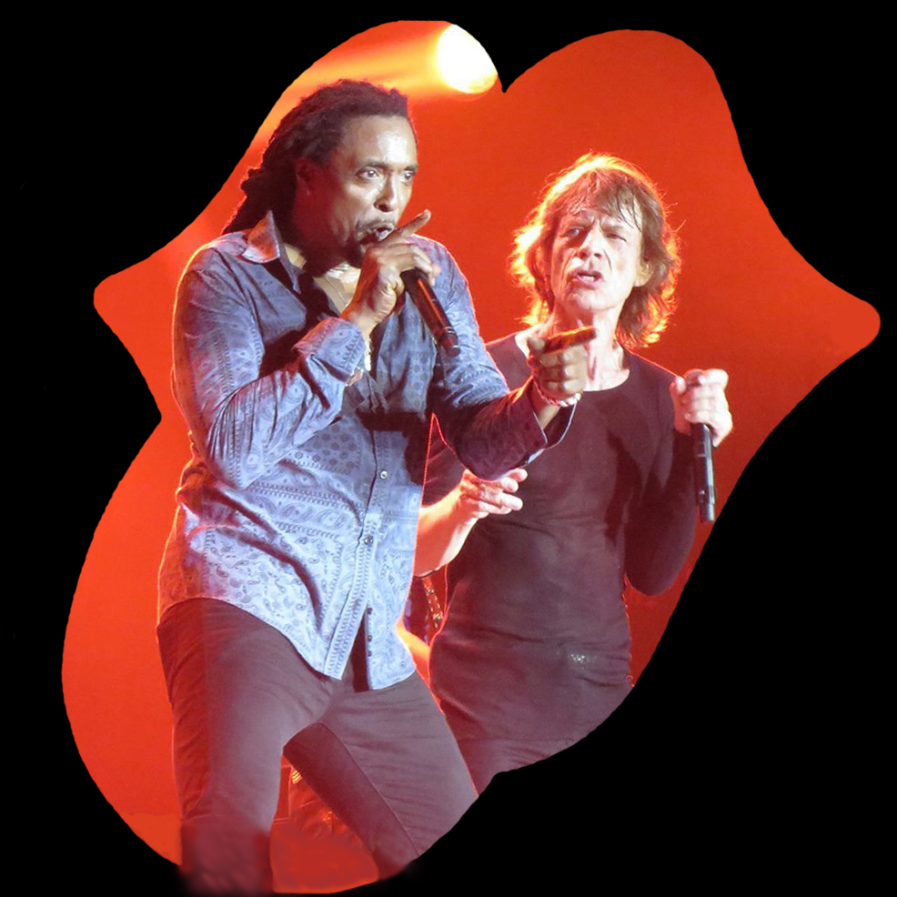 Caption: Bernard Fowler and Mick Jagger